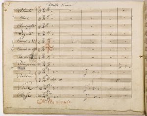 Handwritten music from Beethoven's 9th symphony