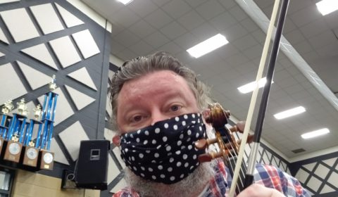 Violin Teacher with Mask